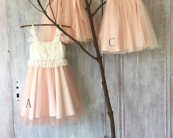 2017 Mix Match White Blush Pink Junior Bridesmaid dress, Mismatch Puffy Flower Girl dress, Tulle Lace Rosette dress (HK119/FK309/FK311)-RENZ