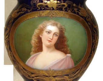Royal Vienna Hand Painted Goddess Vase