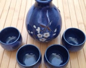 Beautiful hand fired cobalt blue sake set