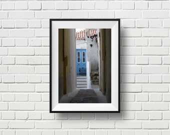 Hidden door, travel photography, Greece island photo, Mediterranean decor, Greek architecture, white, blue, home and office decor, wall art