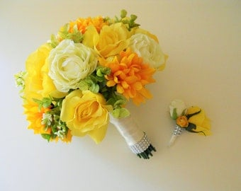 Yellow, Orange, Green, White and Ivory Combo Bridal Wedding Bouquet
