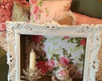 1 Antique Fabulous Baroque, Rococo, French, shabby chic distressed framed shadow wall shelf/box