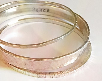 Personalized Thick Silver Bangle,  Customized with Kids Names or Mantra Bracelet, Stacking Bangle Statement Jewelry