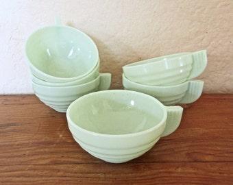 Jadeite Cups France Set of 6 Art Deco