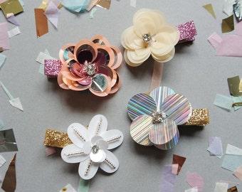 Sequin Flower Hair Clip Pair