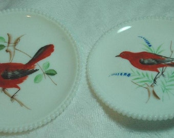 Vintage Decorative Westmoreland Beaded Edge Milk Glass Plates With Red Birds - FREE SHIPPING