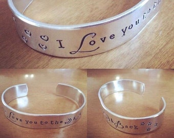 I love you to the moon and back...cuff bracelet...
