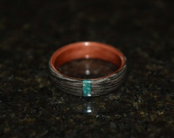Hand Made (Bentwood Method) Aromatic Cedar wrapped in Gray Maple with Chrysocolla inlay wooden ring