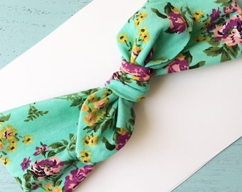 Aqua Floral Top Knot Turban Headband