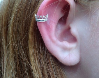 Sterling Silver Crown Ear Cuff, Handcrafted, Crown Jewelry, Sterling Silver, 925 Silver, Women's,Teen's, Gifts Under Ten Dollars, Unique
