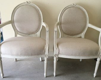 Pair of 19th Century Italian Chairs in Oatmeal Linen - Totally Refurbished - Shipping Varies