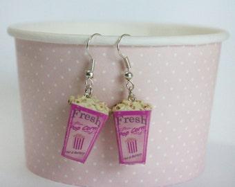 Pop Corn Earrings - Carnival Jewelry - Carnival Food Earrings - Kawaii Pink Earrings -  Dollhouse Carnival Food -