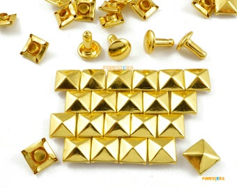 8mm Gold Pyramid Double Cap Rapid Rivet Punk Rock Leathercraft Rivet (JPR08)