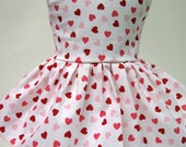 Hearts on White, Valentine's Day Sleeveless Dress for Your American Girl Doll
