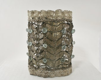 Wide Antique Silver Woven Cuff with Moss Aquamarines