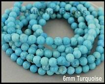 "16"" Strand - 6mm Genuine TURQUOISE Gemstone Beads - AQUA Turquoise Natural semi precious Round Opaque Gemstone - Instant Ship - USA - 6461"