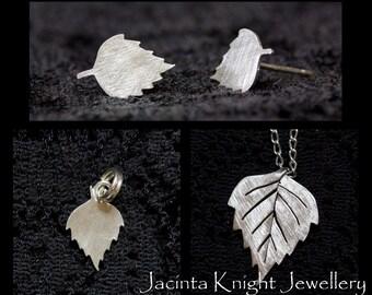 Sterling silver birch leaf earrings, charm or pendant