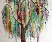 Watercolor painting of Weeping Willow Tree, abstract artwork