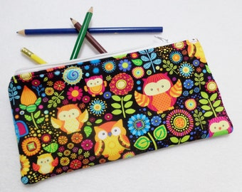 Owls and Flowers print Pencil Case/ Crayon Case/Makeup Bag/ Cosmetic Case/ Ready to Ship