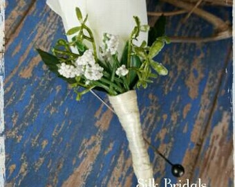 Cream ivory Rosebud rose Boutonniere Groom groomsman bridal silk wedding flowers father grandfather prom