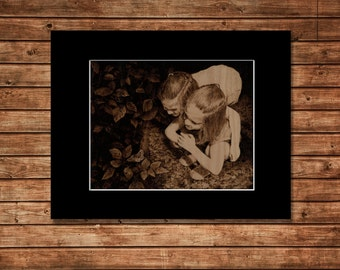 Free Shipping and Special Price - Butterfly Girls on Birch Art Print - Matted and Frame Ready