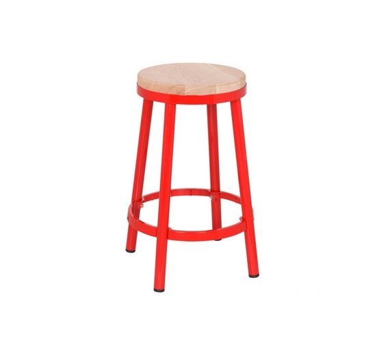 "Custom Painted Round Metal & Wood Stool in the Color of your Choice 26.25"" Counter Height or 30"" Bar"