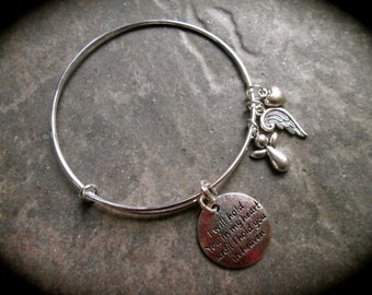Sympathy Gift Angel adjustable wire bangle bracelet Hold you in my heart until I hold you in heaven Miscarriage Memorial gift