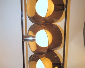 Mid Century Modern Space Age Black Smoked Lucite Chrome Stacked Spot Stop Light Vintage Lighting Directional 3 Way Hanging Swag Lamp Mod