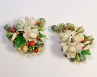 Vintage Flower Cluster Earrings - Made in WEST GERMANY - Jewelry - Clip On