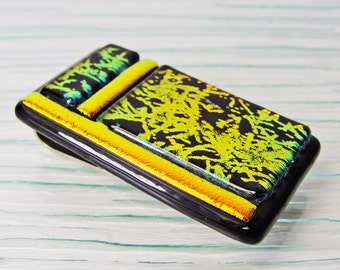 Dichroic Fused Glass Money Clip Men Women Accessories Jewelry Glass Art Money Holder Gold Copper Black Gifts Under 30 Dollars Gifts for Him