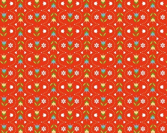 Red Floral Folkart Fabric - Dutch Treat by Betz White from Riley Blake - 1 Yard