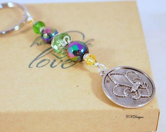 Fleur De Lis Keychain. Gold, Purple, Green Glass Beaded Keyring. OOAK Handmade Keychain. CKDesigns.US