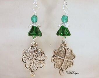 Green Shamrock Earrings, Celtic Earrings, Green and Silver Irish Pierced or Clip-on Earrings. OOAK Handmade Earrings. CKDesigns.US