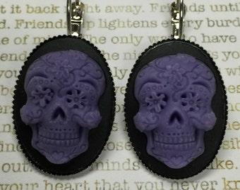 Sugar Skull Earrings - Sugar Skull Earrings - Purple on Black Sugar Skulls Day of the Dead Jewelry Skulls Dia de los Muertos All Saints Day