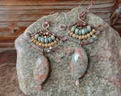 Zen. Artisan Hammered Copper Drop Earrings with Wire Wrapped Natural Materials, Wood, Quartz, Coconut, Tribal Brass. Boho Gypsy Chic Large