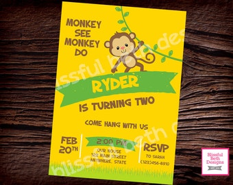 MONKEY BIRTHDAY INVITATION Monkey See Monkey Do Birthday Invitation, Monkey Birthday Invite, Monkey Invitation, Monkey, Second Birthday