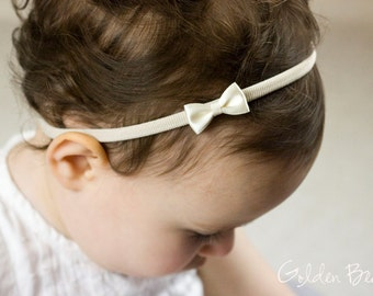 Little Ivory Baby Bow - Flower Girl Headband - Little Satin Ivory Bow Handmade Headband - Fits From Babies to Adults