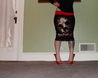 Friday The 13th - Halloween Scream - On A Black Pencil Skirt