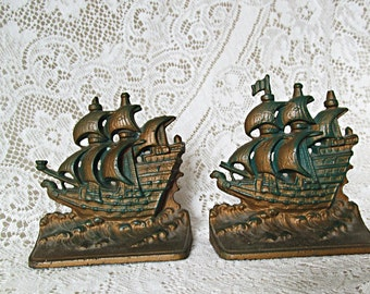Ship Bookends Schooner Nautical Bookends Vintage Cast Iron Bookends 1940s 1950s Mid Century Decor Library Office