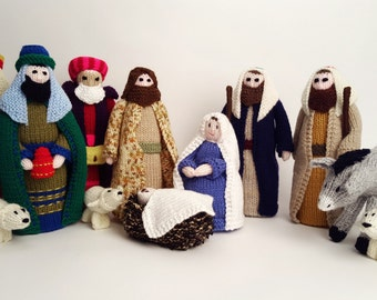 Hand knitted traditional Nativity scene