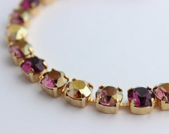 Swarovski Purple bracelet, Swarovski bracelet, purple and gold bracelet, Rhinestone bracelet, bridesmaid bracelet, amethyst bracelet AS01