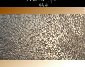 SALE XLarge Original gallery canvas Abstract painting,Original comtemporary Art,Silver Magic Ready to hang  by Nicolette Vaughan Horner