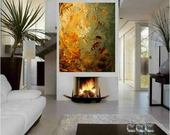 ORIGINAL HUGE Abstract Landscape  Oil Painting Thick Texture Gallery Fine Art -Nicolette Vaughan Horner