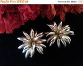 Reserved Now On Sale Huge Flower Earrings - Prop Pieces - 1960's 1970's Glamour Girl Style Vintage Jewelry - Statement Jewelry