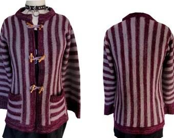 Purple Striped Bohemian Boho Western Toggle Flared Cardigan Sweater
