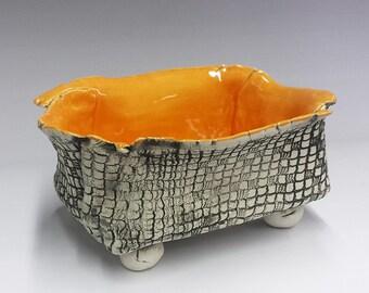 Orange Marmalade - Ceramic Sculpture - Bowl   Box Vase  