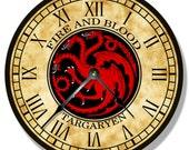 HOUSE TARGARYEN pattern wall CLOCK - Game of Thrones - 7146
