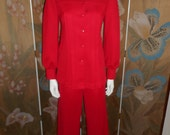 Reserved for Ogino Vintage 1970's Aileen Red Pant Suit - Size 10