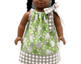 18 inch Doll Clothes Pillowcase dress Green Polka Dot Roses Gingham 15 inch Doll Clothes