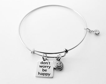 Don't worry be Happy necklace or bracelet - Stainless steel chain - All stainless steel non allergenic - See ALL photos!